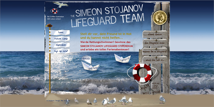 Website des Simeon Stojanov Lifeguard Teams
